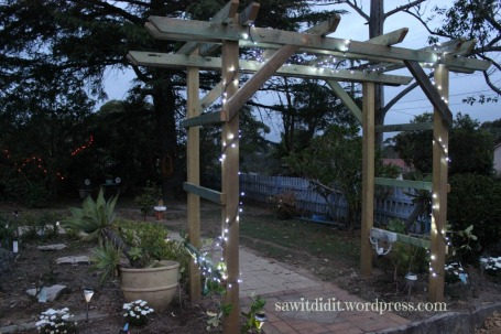 Garden arch with lights . sawitdidit.wordpress.com