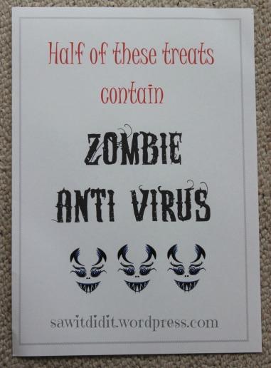 Halloween Half of these treats contain zombie anti virus sawitdidit.wordpress.com