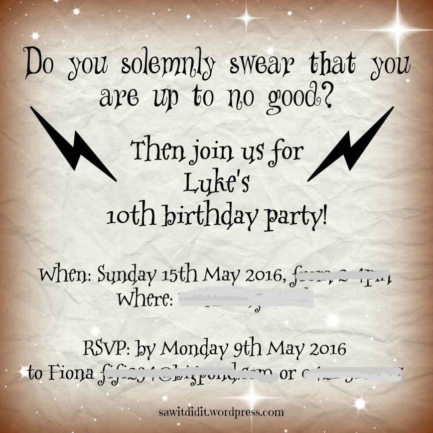 HP birthday party invitation