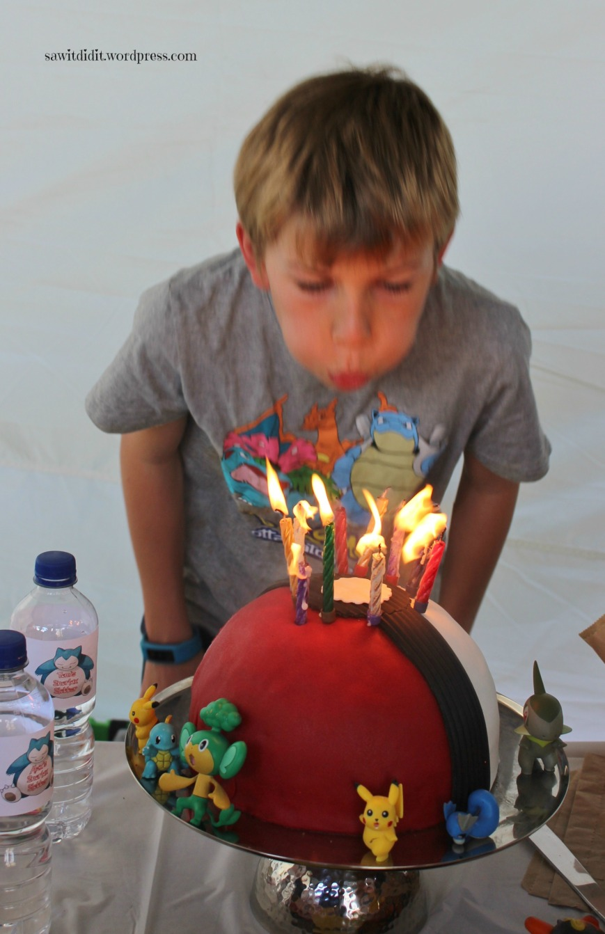 Pokeball cake and candles