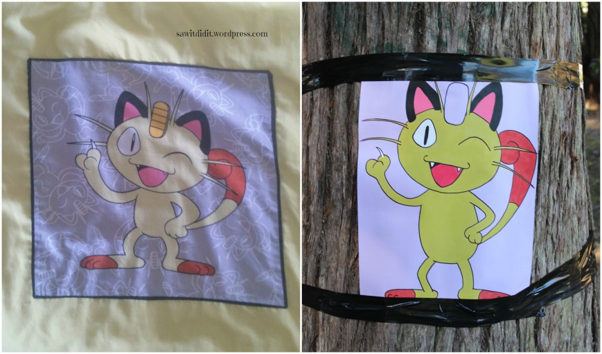 Pokemon Go party Pin the Amulet on Meowth drawing