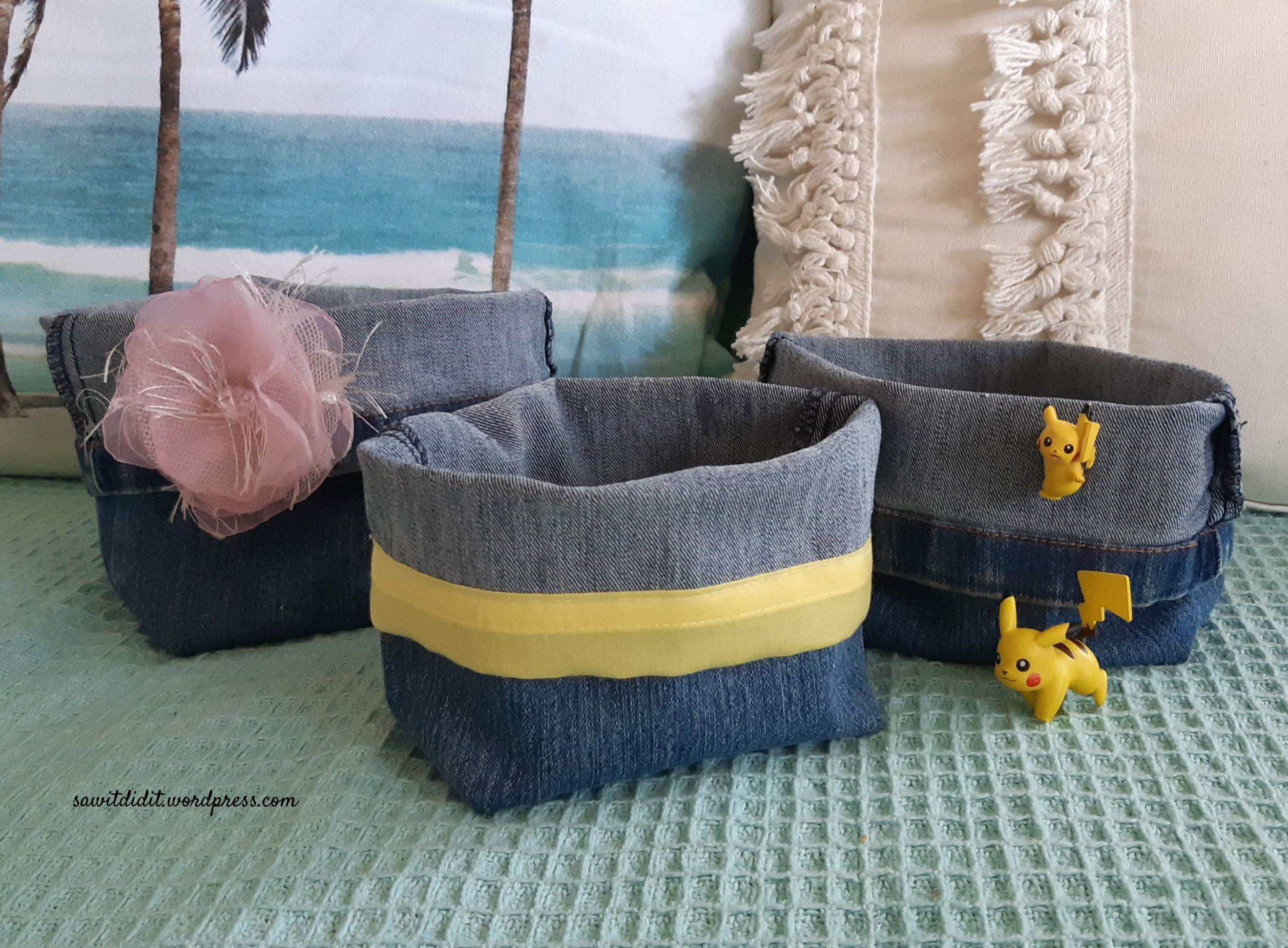 upcycled jean baskets 2