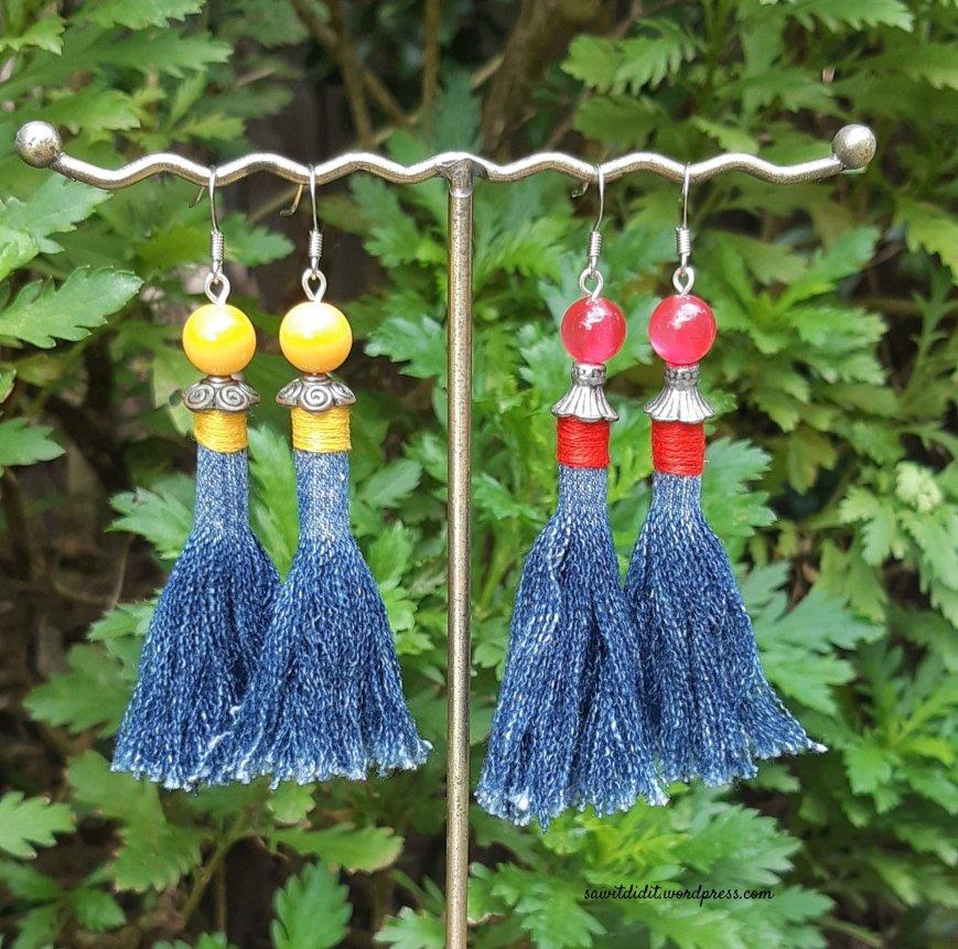 upcycled jean beaded earrings